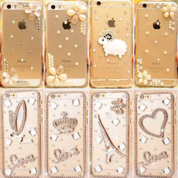 Bling Luxury Rhinestone Diamond Hard Back Mobile Phone Case Cover For LG