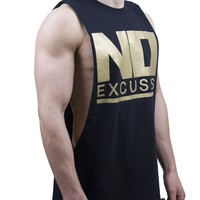 No Excuses Cut Off T Shirt - Black