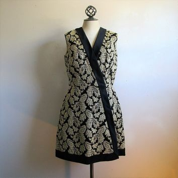 Gold Brocade 60s Mini Evening Dress Handmade Vintage 1960s Black Satin Floral Gogo Jacket Dress Large