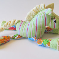 Happy Multi-Colored, Cotton and Fleece, Nursery decor or toy Stuffed Horse