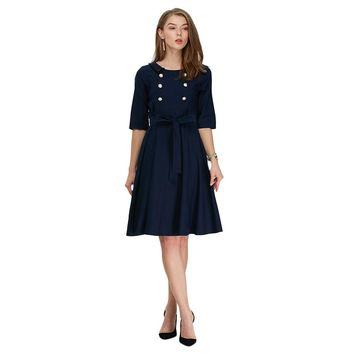 Trendy Round Collar Double Breast A-Line Midi Dress for Women