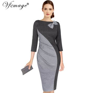 Vfemage Womens Elegant Ruched Bow Contrast Patchwork 3/4 Sleeve Vintage Pinup Work Office Party Fitted Bodycon Sheath Dress 8096