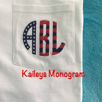 Monogrammed Flag Tee Pocket Tee American Patriotic Red White Blue Personalized T Shirt Kaileys Monogram kaileysmonogram Americana