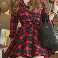 Casual V-Neck Long Sleeve Plaid Lace-Up Dress For Women  #290089