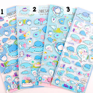 Jinbesan sticker, Jinbe San sticker, Puffy Jinbesan, Sea Creature sticker, Whale sticker, Puffy Jinbe San, Sanrio 17 18 19 so