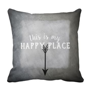 quote pillow my happy place gray and white