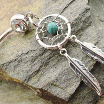 Cyber Monday Etsy FREE SHIPPING Turquoise Dream Catcher Belly Button Jewelry, Belly Button Ring, Healing Stone