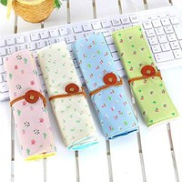 Set of 4 Large Capacity Canvas Pen Pencil Stationery Bag Pouch Box Case - Cute Cat Design and Candy Color
