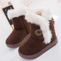 2017 Winter Children Boots Bailey Button Thick Warm Shoes Plush Suede Boys Girls Snow Boots Kids Boots Australia Shoes Baby Shoe