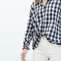 Gingham shirt with front pockets
