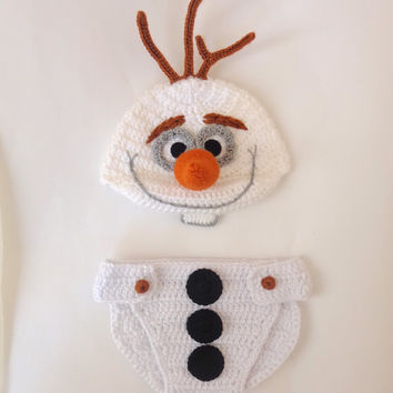 Olaf Snowman Frozen Crochet Hat And Diaper Cover Set  - Disney Hat Crochet Wig - Halloween Baby Hat - Choose your size