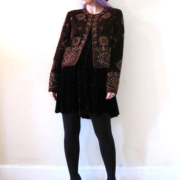 vintage beaded  velvet jacket bolero bead encrusted / burgundy marsala / boho rich hippie rock star