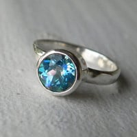Mystic Topaz Ring - Gemstone Engagement Ring - Limited Edition Seascape Mystic Topaz Solitaire - Aqua Turquoise Blue Green Sterling Silver