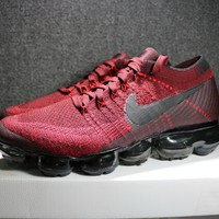 Nike 2018 Air Max Vapormax Flyknit Wine Red Women Men Running Sport Casual Shoes Sneakers