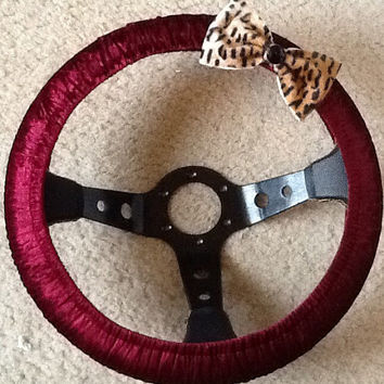 Burgundy steering wheel cover with Cheetah print bow
