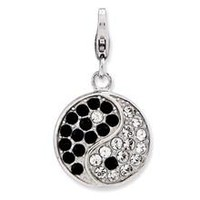 Enameled 3-D Ying Yang Sign Charm in Sterling Silver