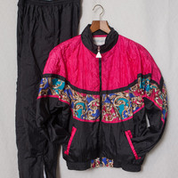 Women's 80s Hot Pink Windbreaker Suit, Medium 80s Pink Quilted Windbreaker Suit, Women's 80's Hot Pink Workout Suit