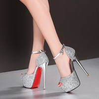 Designer fashion gold pumps shoes ladies peep toe platform red bottom super sexy high heels women silver wedding shoes K-22