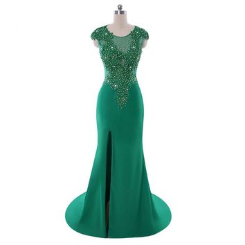High Slit Scoop Neck Cap Sleeves Chiffon Appliques Mermaid Prom Dresses Floor Length Prom Dress