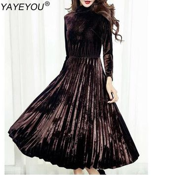 YAYEYOU Women Fashion Dresses A-line Pleated Vintage Dress Long Sleeve Velvet Dress