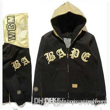 Good Quality America Popular Brand Men's Gold Leather Patchwork Hoodies Vintage Cardigan Jacket Winter Autumn Hooded Hoodies For Sale