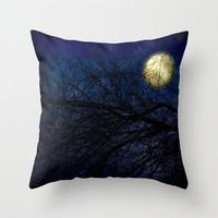 Art Throw Pillow Cover Blue Moon photography photo Indoor Outdoor Pillow Covers available royal navy blue full moon stars gothic night sky