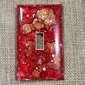 Alcohol Ink|light switch plate|one of a kind|unique|beautiful|decor|home furnishing|red, browns, oranges|room switch|made in US|Pop of Color