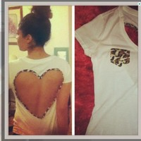 Leopard print heart back Tee from Designs By AngeliqueMerici