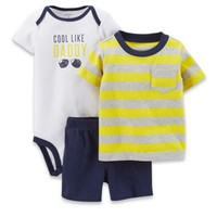 """Carter's® 3-Piece """"Cool Like Daddy"""" Bodysuit and Short Set in White/Yellow Stripe/Navy"""