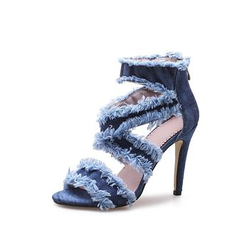 Denim Strapply Sandals High Heeled Shoes 8980
