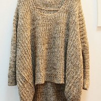 OASAP - Irregular Hem Bat-wing Sleeve Colored Sweater - Street Fashion Store