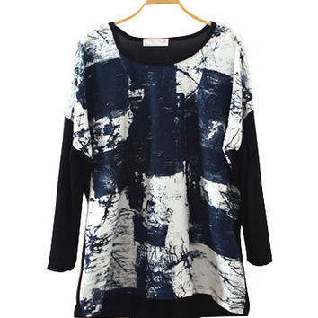 Black Dye Print Long Sleeve Top