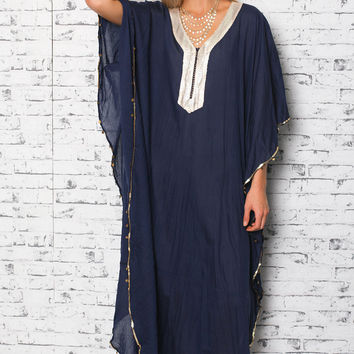 Como Long Kaftan in Navy