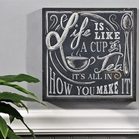 Shabby Retro Life Is Like Cup of Tea Chalkboard Kitchen Sign Wall Décor Plaque 10 Inch