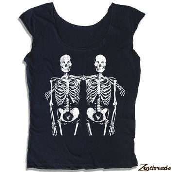 Womens SKELETONS Scoop Neck Tee - american apparel T Shirt S M L XL (6 Color Options)