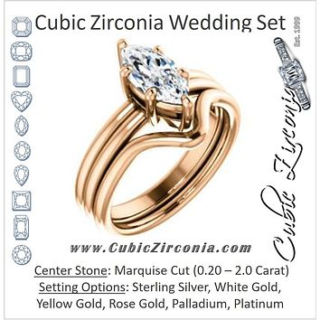 CZ Wedding Set, featuring The Marnie engagement ring (Customizable Marquise Cut Solitaire with Grooved Band)