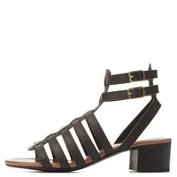Black Strappy Low Heel Gladiator Sandals by Charlotte Russe