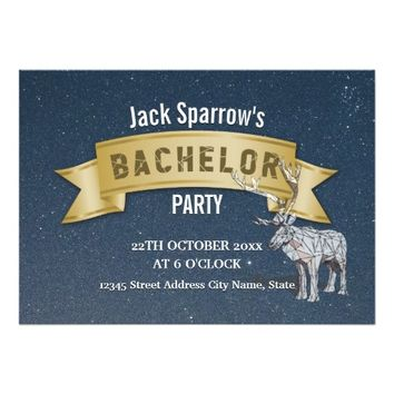 Bachelor Stag Party Gold Ribbon Starry Invitations
