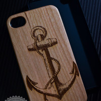 Anchor Vintage Wooden iPhone 4/4s iPhone 5/5s case walnut bamaboo wood iphone case