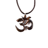 Ohm Necklace, Om Pendant, Om Necklace, Wooden Om Yoga Necklace, Hand Carved Ohm Necklace, Ohm Pendant, Om Yoga Jewelry, Namaste Jewelry