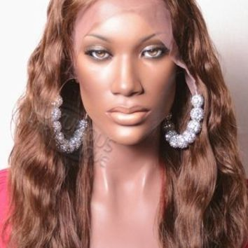 100% Indian Remy Loose Wavy Round Lace Wig - Eunice 24""