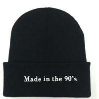 Made In The 90'S Beanie Womens & Mens Casual Embroidered Elastic Winter Warm Black Cuffed Skully Hat