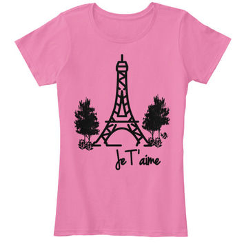 Je T'aime Eiffel Tower Paris Women's Shirt With Trees and Buzzing Bee