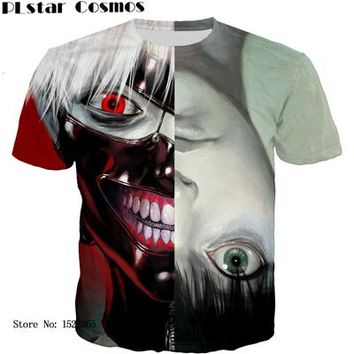 Anime T-Shirt cosplay PLstar Cosmos Anime Tokyo Ghoul t shirt White Hair Kaneki Print tshirts Men Women Summer Harajuku tee shirts Hipster 3d t shirt AT_57_4