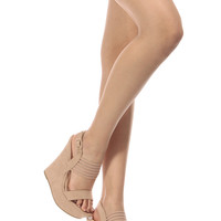 Nude Faux Suede Sling Back Mesh Strap Wedges