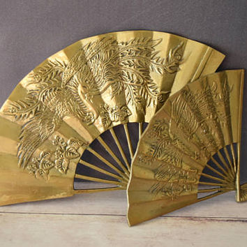 Brass Fans/ Brass Asian Fans/ Asian Dragon/ Vintage Asian Decor/ Brass Wall Hanging/ Brass Wall Decor/ Phoenix/ Fans Decor/ Chinoiserie