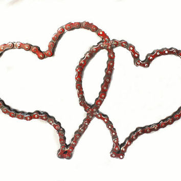 Chain Art Heart Design by Recycled Salvage Wedding Decor, Valentines