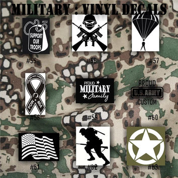 MILITARY vinyl decals - 55-63 - Army, Air Force, Navy and Marines - car decal - window sticker - vinyl sticker - vinyl decal