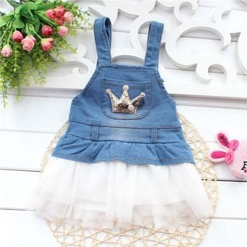 2017 Baby Summer Dress for girls 1-3 years old overall denim lace dresses A299