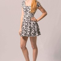 Black and White Print Skater Dress